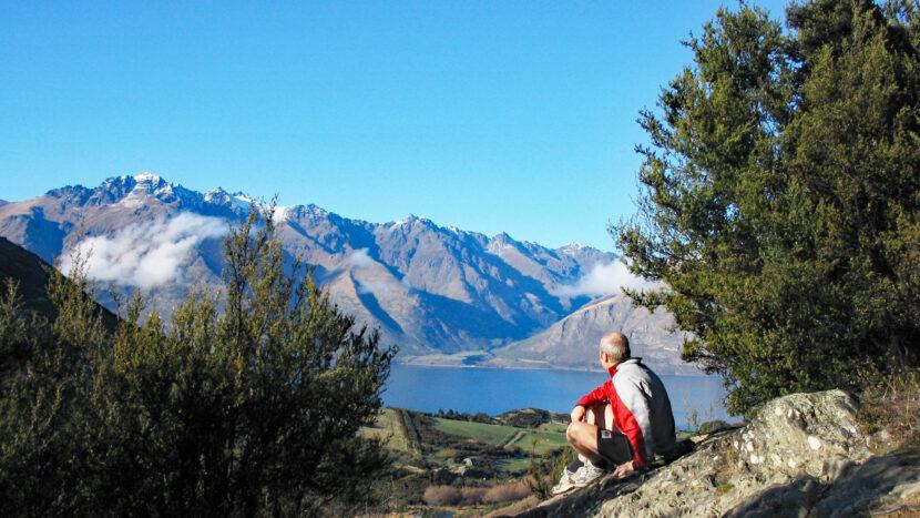 コース最高地点で絶景を眺めながら休憩