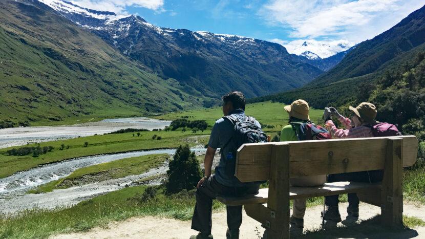 マウントアスパイアリング国立公園の氷河谷を遠望